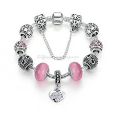 bracelet charms diy images Elegant beaded charm bracelets with pink essence glass beads jpg