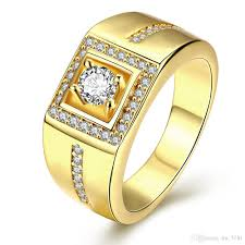 promise ring for men classic engagement ring 18k real gold plated aaa arrows cz