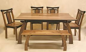 Bench Style Dining Room Tables Classy Rectangular Wooden Japanese Dining Table With Dining Chairs