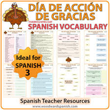 thanksgiving day vocabulary with worksheets vocabulario