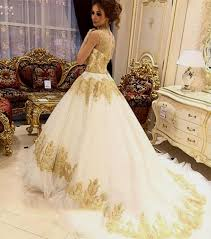 mermaid sweetheart ivory tulle gold lace applique wedding dress