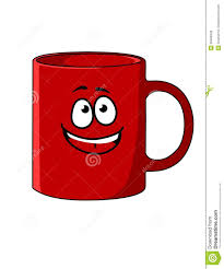 red cartoon coffee mug with a happy face royalty free stock images