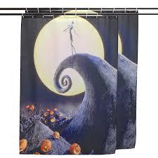 halloween nightmare moon skull polyester shower curtain bathroom