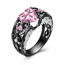 black and pink wedding ring sets engagement rings bridal sets wedding ring sets wedding rings