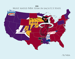 United States Of Baseball Map by Reddit Survey Shows The Most Hated Nba Teams In The United States
