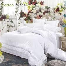 Sonic Duvet Set French Wedding Bedding Set Satin Embroidery Lace Silk Mix Cotton