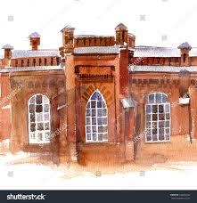 urban watercolor sketch old red brick stock illustration 446962294