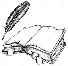 drawing opened book feather illustration royalty free