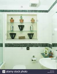 Small White Bathrooms Cacti And Vases On Glass Alcove Shelves In Small White Bathroom