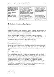 Indicators Of Economic Development