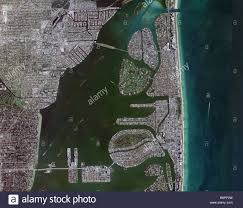 Florida Intracoastal Waterway Map by Aerial Map View Above Miami Biscayne Bay Intercoastal Waterway And