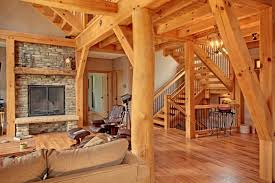 Timber Frame Home Interiors Natural Timbers Or Live Edge Timbers In Timber Frame Homes