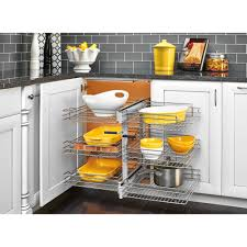 organizer for corner kitchen cabinet rev a shelf 15 in corner cabinet pull out chrome 3 tier wire basket organizer with soft slides 5psp3 15sc cr the home depot