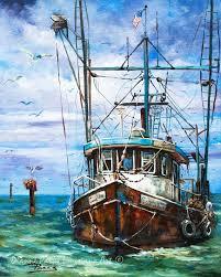Painting Boat Interior Louisiana Shrimp Boat Art Louisiana Shrimp Boat Painting