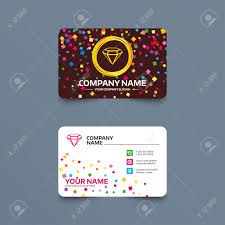 business card template with confetti pieces diamond sign icon