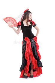Spanish Dancer Halloween Costume Woman Traditional Spanish Flamenco Dancer Dancing Stock Photo