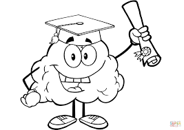 happy brain character graduate with diploma coloring page free