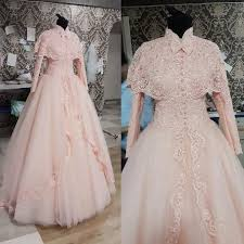 Pink Wedding Dresses With Sleeves Discount Long Sleeve Muslim Modest Lace Wedding Dresses With Cloak
