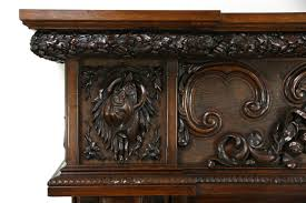 sold carved oak antique fireplace lodge mantel or archway
