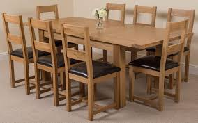 8 Seat Dining Room Table by Chair Table And 4 Wooden Dining Chairs With Black Leather Seats
