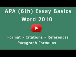 apa format 6th microsoft word 2010 youtube