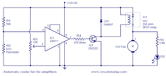 automatic cooler fan for amplifiers electronic circuits and