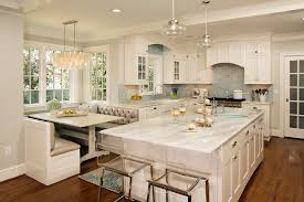 decor barstools and white kitchen cabinets with breakfast nook