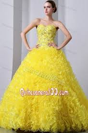 yellow sweetheart organza beading and ruffles sweet 15 dresses
