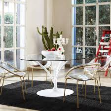 contemporary dining table glass metal round acacia by