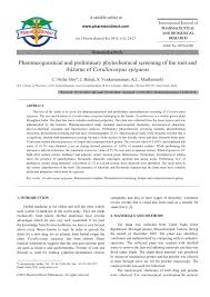 pharmacognostical and preliminary phytochemical screening of the