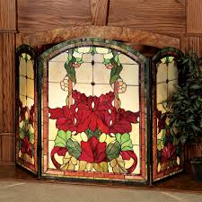 pretty floral stained glass fireplace screen for mounted fireplace