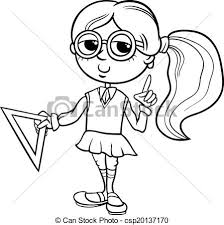 clip art vector of grade student coloring book black and