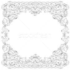 floral ornament frame simulates engraving vector based on the