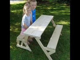 Diy Foldable Picnic Table by Kids 2 In 1 Folding Picnic Table And Bench Seat Youtube