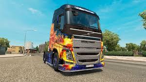 2016 volvo 880 blue fire skin for volvo truck for euro truck simulator 2