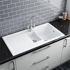 Ceramic Kitchen Sinks Uk Reginox Rl301cw 1 5 Bowl White Ceramic Reversible Inset Kitchen