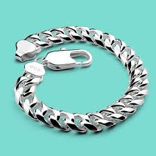 solid silver bracelet charms images Online shop men sterling silver bracelet 925 pure silver chain jpg