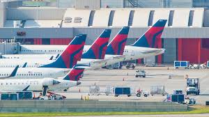 Atlanta Airport Floor Plan Delta Airlines Commercial Passenger Aircraft Lined Up At A