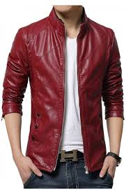 good motorcycle jacket slim fit red leather jacket men u0027s faux leather red casual style