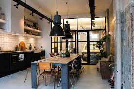 table industrial design kitchen eclectic with concrete floor wood