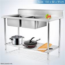 Stainless Steel Bench With Sink Double Left Side Bowl Stainless Steel Bench Sink Crazy Sales