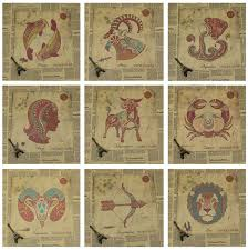 zodiac posters online shop retro poster 12 zodiac signs painting brown