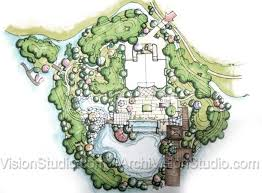 Garden Floor Plan Grand Scale Garden Design With Privacy Berms And A Small Island