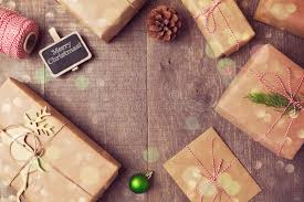 christmas handmade wrapping gift boxes background view from above
