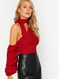 one shoulder blouse self tie choker bishop sleeve asymmetric one shoulder blouse