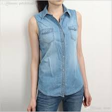 sleeveless blouses 2018 wholesale denim shirt sleeveless blouse turn