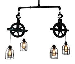 Rustic Island Lighting Ceiling Lighting Industrial Pulley Light Bar Light Island