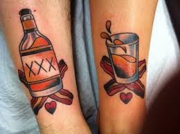 nice bottle and glass tattoo on leg tattooshunter com