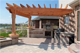 simple outdoor kitchen ideas backyards awesome corner cabin style pergola with lantern 123