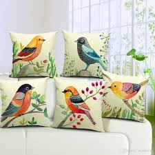 Patio Furniture Cushion Covers - 6 styles hand painting birds cushions covers colour bird tree
